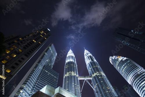 Canvas Prints Kuala Lumpur Night city skyline and Petronas towers, Kuala Lumpur