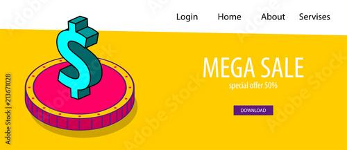 Design Bank Sale.Isometric Dollar Coin Banner Business Flat Site Background Header