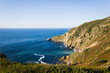 Great views of Cape Villano and Gorliz lighthouse on coast of Biscay by Cantabrian Sea, north Spain. Natural landscape, hiking adventure concepts