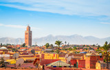 Fototapeta Uliczki - Panoramic view of Marrakech and old medina, Morocco