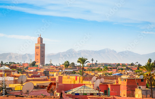 Poster Maroc Panoramic view of Marrakech and old medina, Morocco
