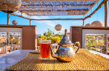 Traditional Moroccan mint tea in Marrakech, Morocco