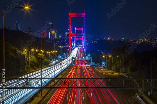 Long Exposure flowing traffic view from Istanbul during twilight Poster