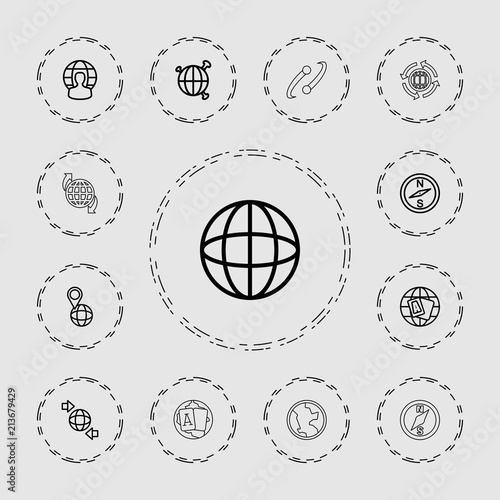 Plakát  Collection of 13 geography outline icons