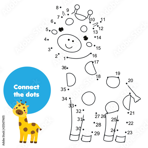 Connect The Dots Children Educational Drawing Game. Dot To Dot By Numbers  Game For Kids. Printable Worksheet Activity For Toddlers With Giraffe - Buy  This Stock Vector And Explore Similar Vectors At