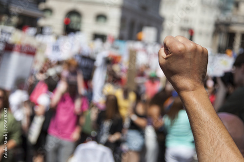 Fotografie, Obraz A raised fist of a protestor at a political demonstration