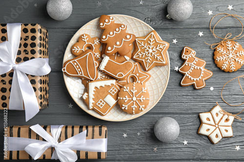 Flat Lay Composition With Tasty Homemade Christmas Cookies On Wooden