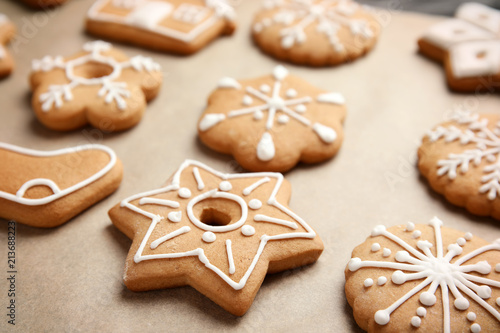 Tasty Homemade Christmas Cookies On Parchment Paper Closeup Buy