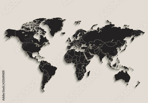 Photo World map Black blackboard separate states individual vector
