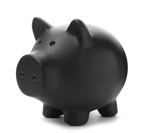 Black Piggy Bank On White Back...