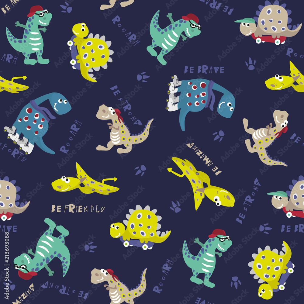Dino pattern. Seamless vector pattern. Cute and fun dino pattern pattern for print on fabric, postcard, cases, posters, t-shirts,web,clothes. wallpaper