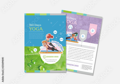 Yoga Flyer Layout With Character Illustrations Buy This Stock