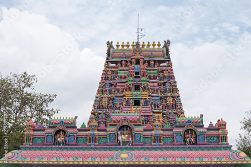 Gopuram, or entrance tower, at the front of the Karpaga Vinayagar temple at Pillaiyarpatti in Tamil Nadu state, India. The rock cut shrine dates back to the 5th century