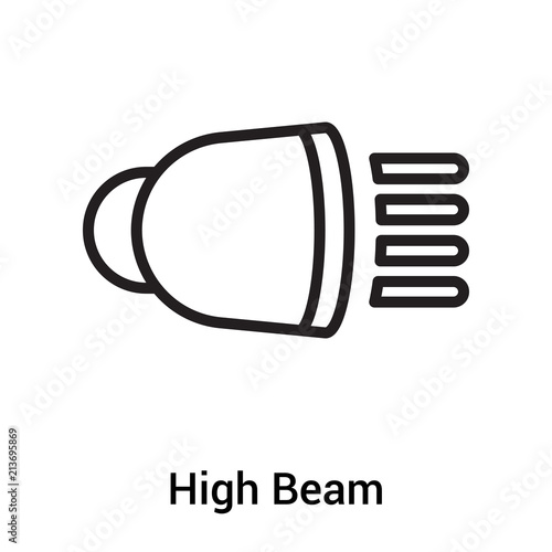 High Beam Icon Vector Sign And Symbol Isolated On White Background