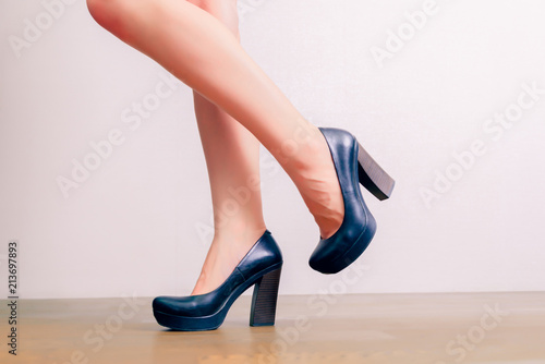 Pin up woman legs in high heels. Sexy woman legs fetish