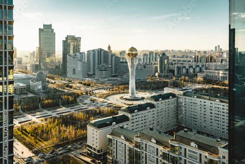 Sunset view towards Bayterek tower and hous of ministries in Astana Kazakhstan o Wallpaper Mural