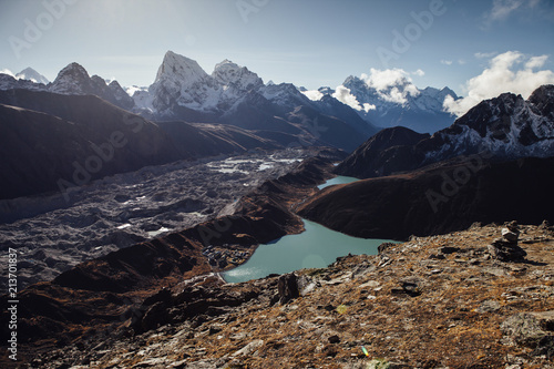 Poster Bergen High angle view of lake amidst mountains against blue sky at Sagarmatha National Park