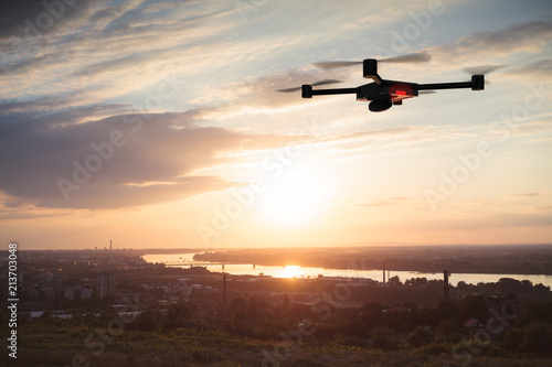 Tuinposter Vliegtuig aerial photographing with drone