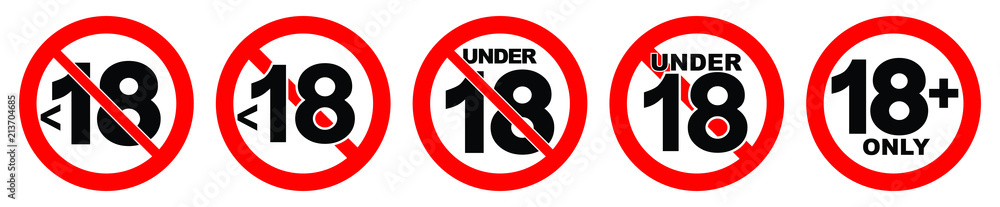 Fototapeta Under 18 not allowed sign. Number eighteen in red crossed circle.