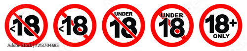Photo Under 18 not allowed sign. Number eighteen in red crossed circle.