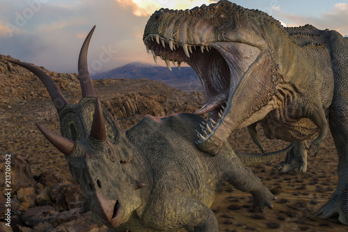 Fotografía t-rex vs diabloceratops