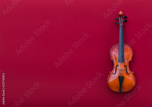 Carta da parati violin on red isolated background