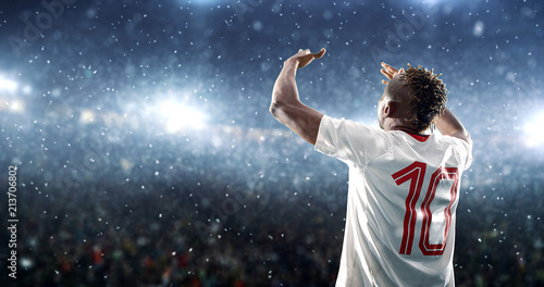 Photo Soccer player celebrates a victory on the professional stadium while it's snowing