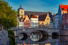 Scenic City View Of Bruges Can...