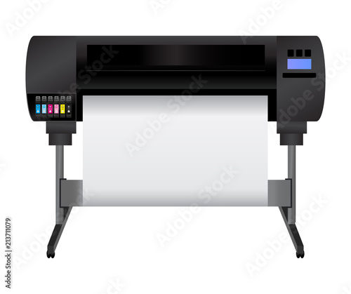 Fototapeta Large inkjet plotter printer for printing many products such as billboards, posters, roll-ups and more large formats with cyan, light cyan, magenta, light magenta, yellow and black inks.  obraz