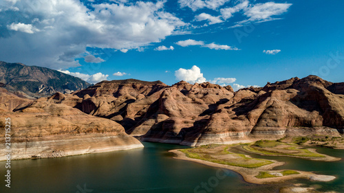 Foto op Canvas Blauwe jeans Aerial view of Lake Powell near Navajo Moutain, San Juan River in Glen Canyon with clear, beautiful skies, buttes, hills and water