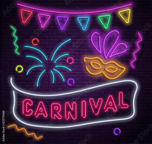 Leinwand Poster Purple carnival background with neon mask and flags.