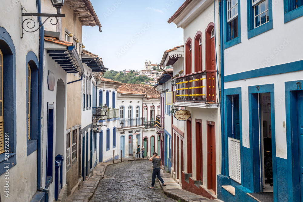 Fototapety, obrazy: Street view of the cobble stoned streets of colonial city Ouro Preto in Minas Gerais, Brazil