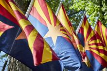 A Row Of Arizona State Flags B...
