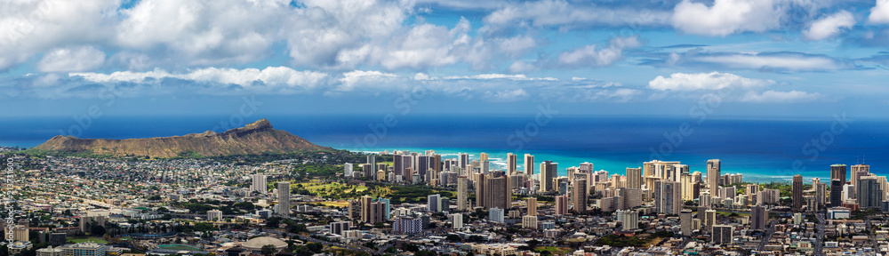 Fototapety, obrazy: Panoramic view of Honolulu city, Waikiki and Diamond Head from Tantalus lookout