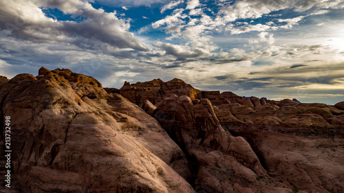 Deurstickers Chocoladebruin Aerial view of Lake Powell near Navjo Mountain, San Juan River in Glen Canyon with colorful buttes, skies and water