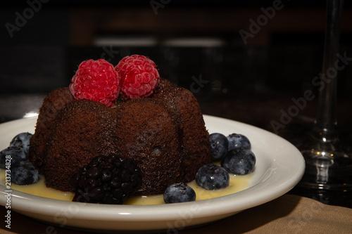 Fotografie, Obraz  Molten Lava Cake with Fruit