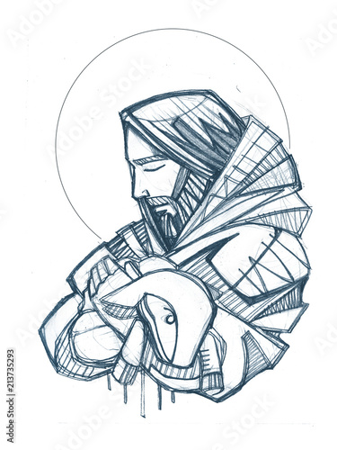 Jesus Christ Good Shepherd hand drawn illustration Fototapeta