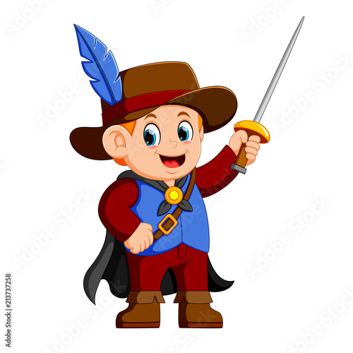 Aluminium Prints Wild West musketeer with sword