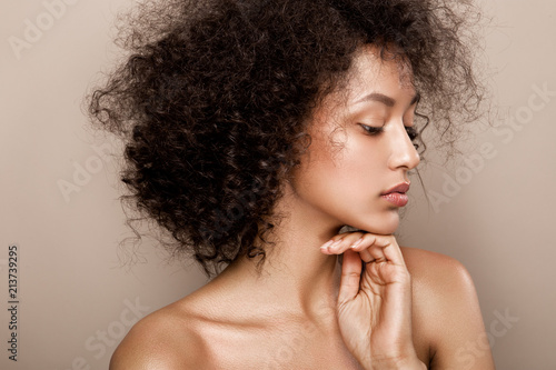 Canvastavla  Fashion studio portrait of beautiful african american woman with perfect smooth