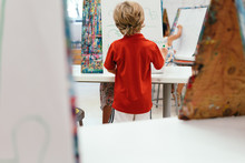 Boy Working On Art Project