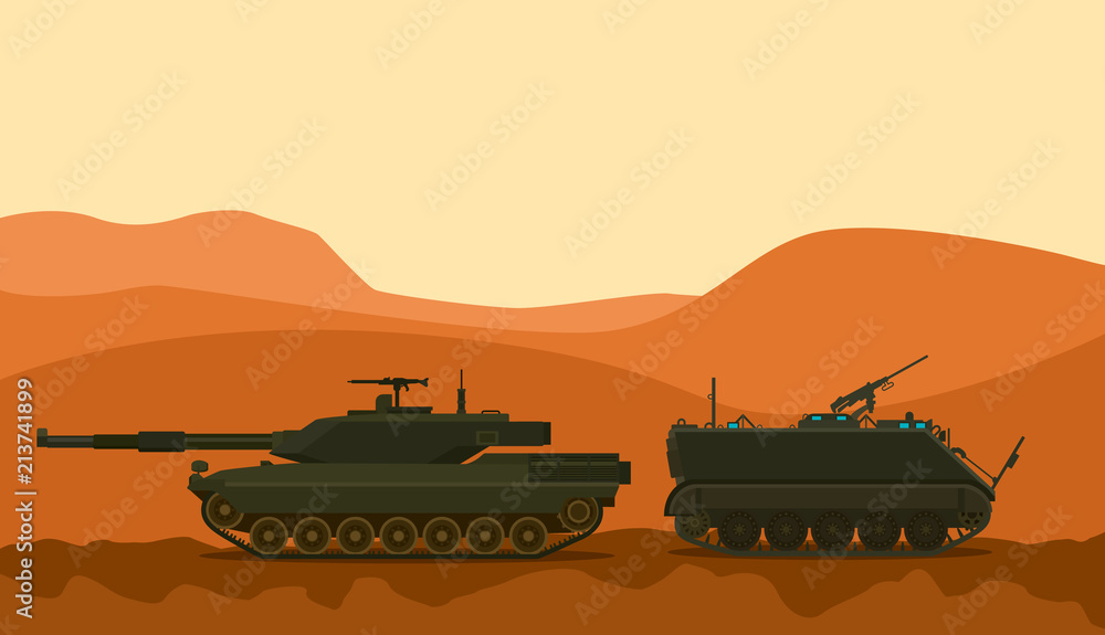 Fototapeta tank war desert warrior with mountain background vector graphic illustration