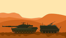 Tank War Desert Warrior With Mountain Background Vector Graphic Illustration