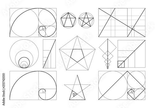 Minimalist set of designed geometric figures in frame with law of golden ratio i Fotobehang