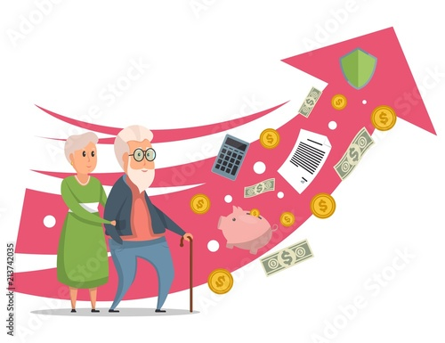 Fototapeta Colorful vector illustration with senior couple and pink rising arrow showing growth of retirement pension isolated on white background obraz