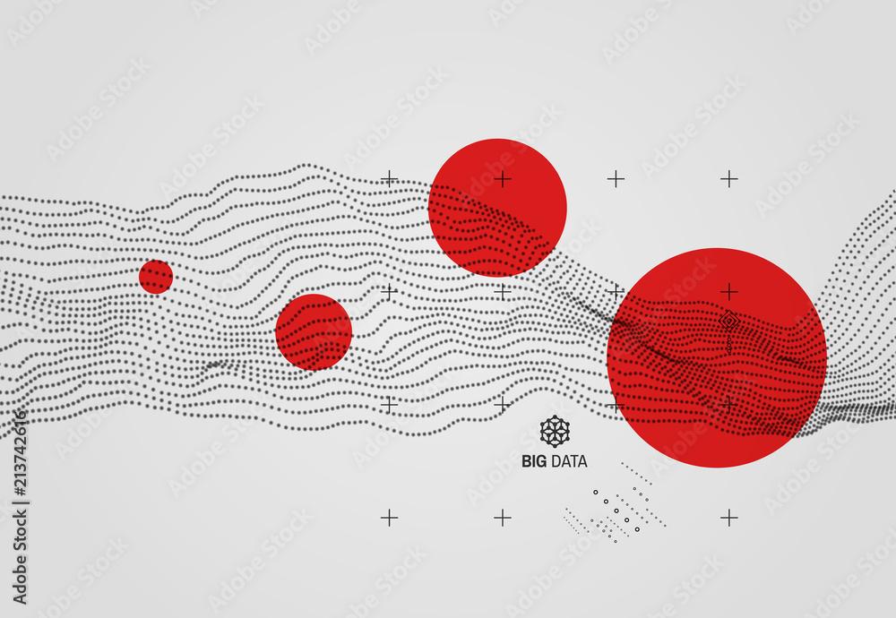 Fototapeta Big data. Wavy background with motion effect. 3d technology style. Vector illustration..