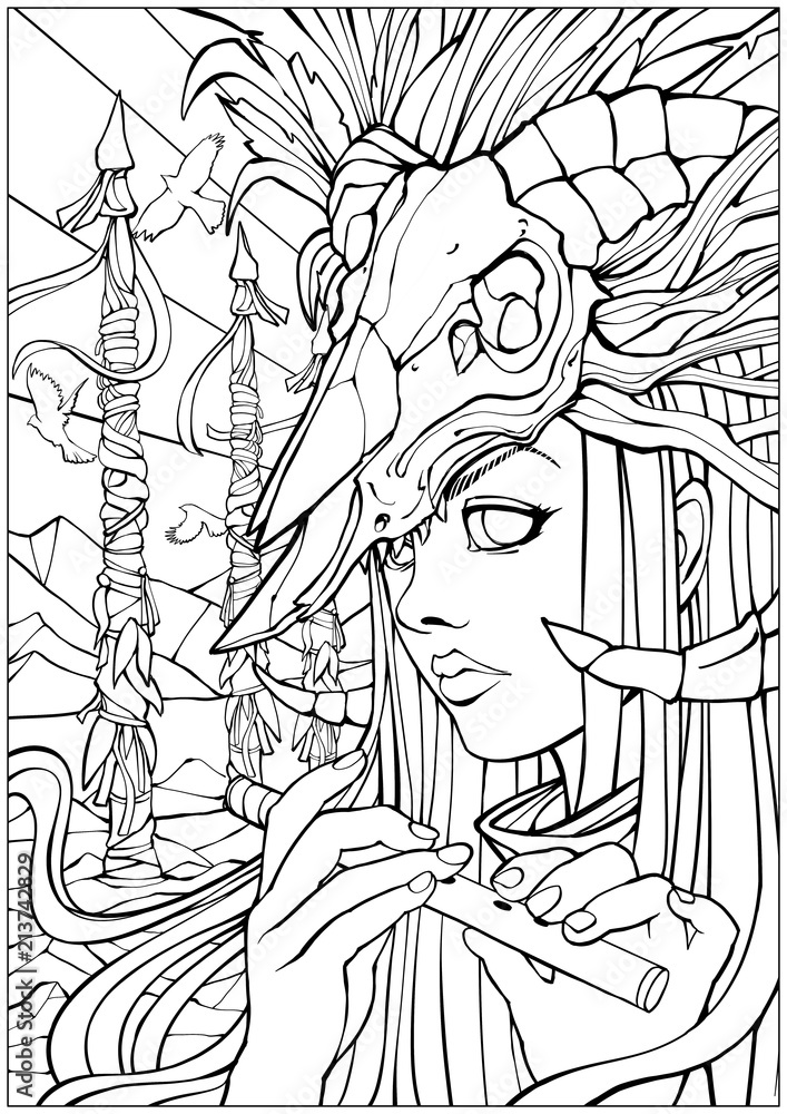 Coloring pages for adults, girl shaman with a flute with a ...