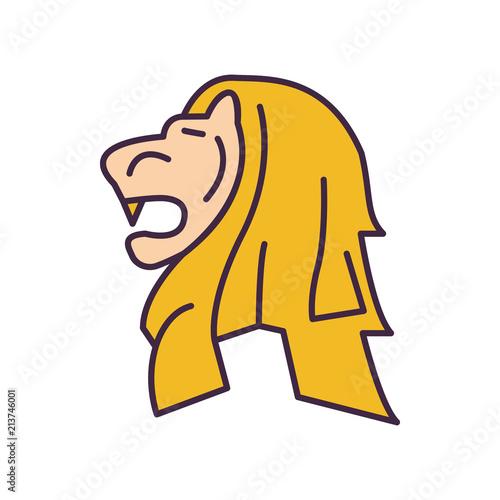 Photo  Merlion statue icon, cartoon style