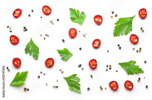 Deurstickers Aromatische pattern of spices on white background