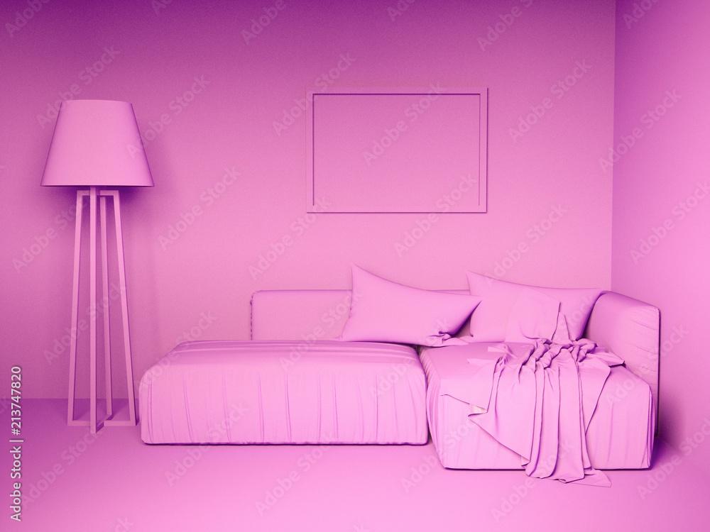 Fototapeta Monochrome pink interior
