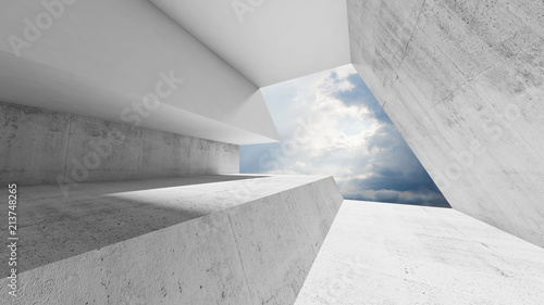 Empty white concrete interior with cloudy sky - fototapety na wymiar